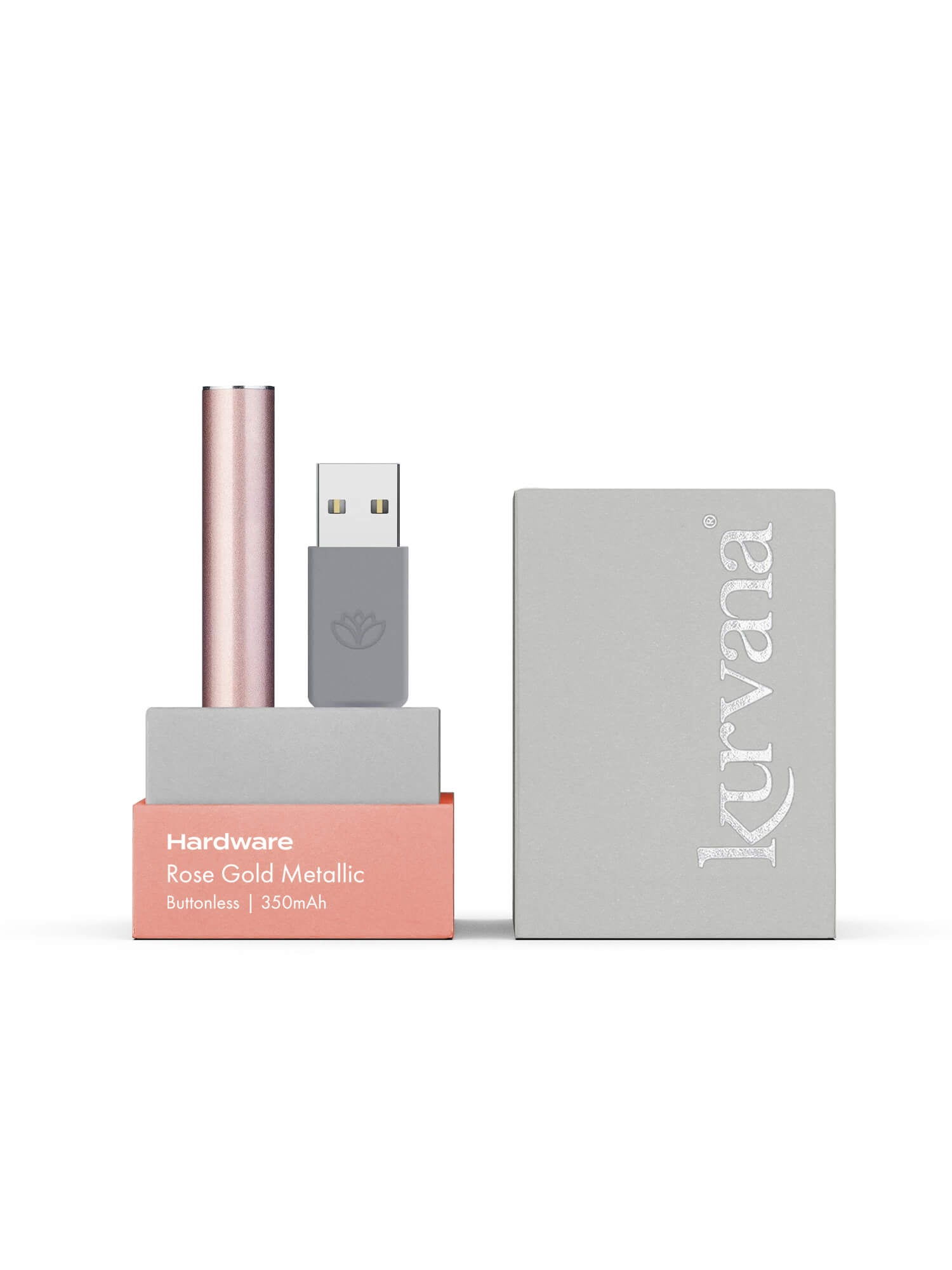 Rose Gold Metallic  —  Slim Buttonless Battery - KurvanaCBD