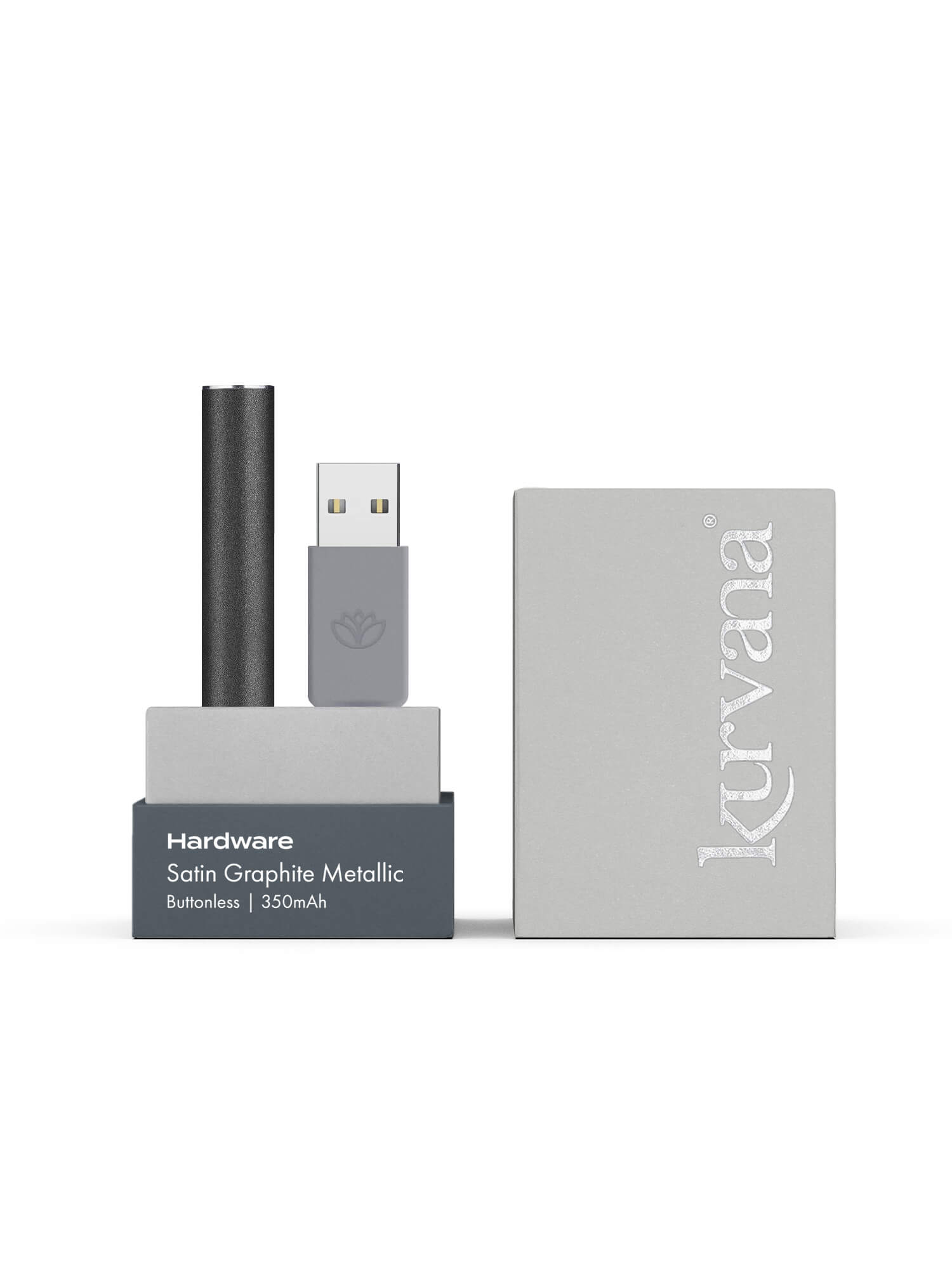 Satin Graphite Metallic  —  Slim Buttonless Battery - KurvanaCBD