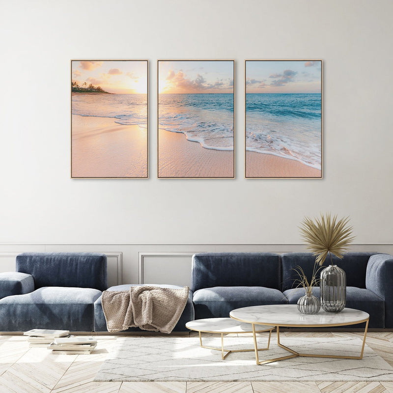 Waves kissed beach, Set Of 3, Style C