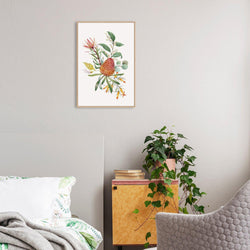 Orange Banksias Flowers, Eucalyptus Leaves, Protea Leaves, Watercolour Floral Print