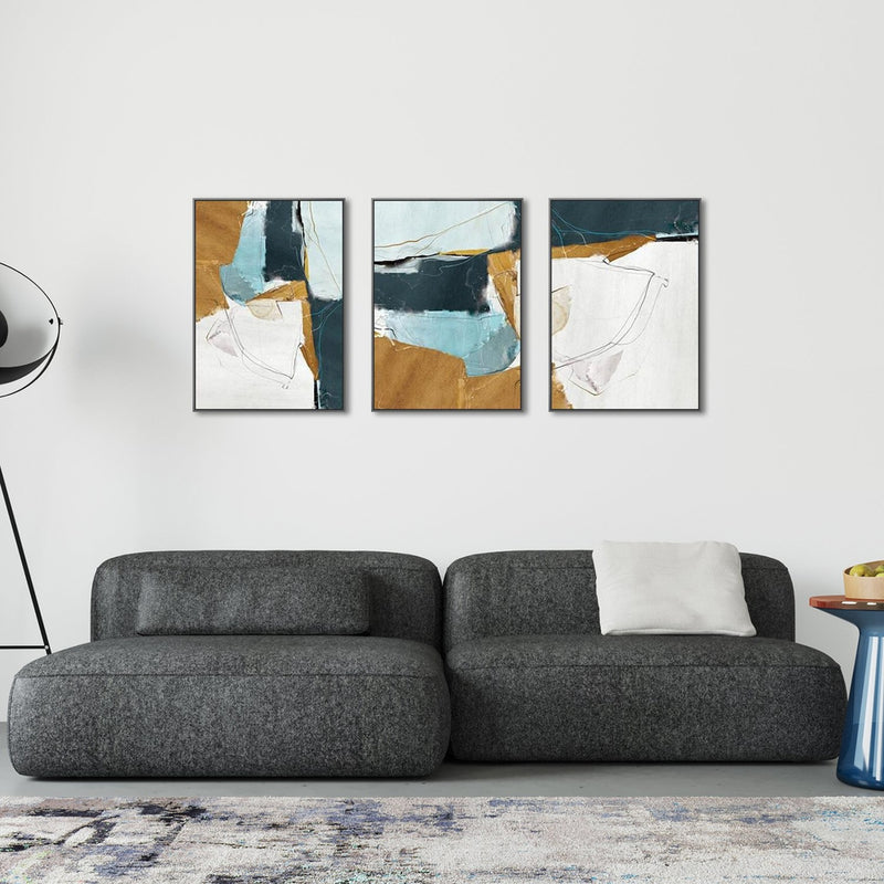 Abstract Art, Blue And Tan, Set Of 3