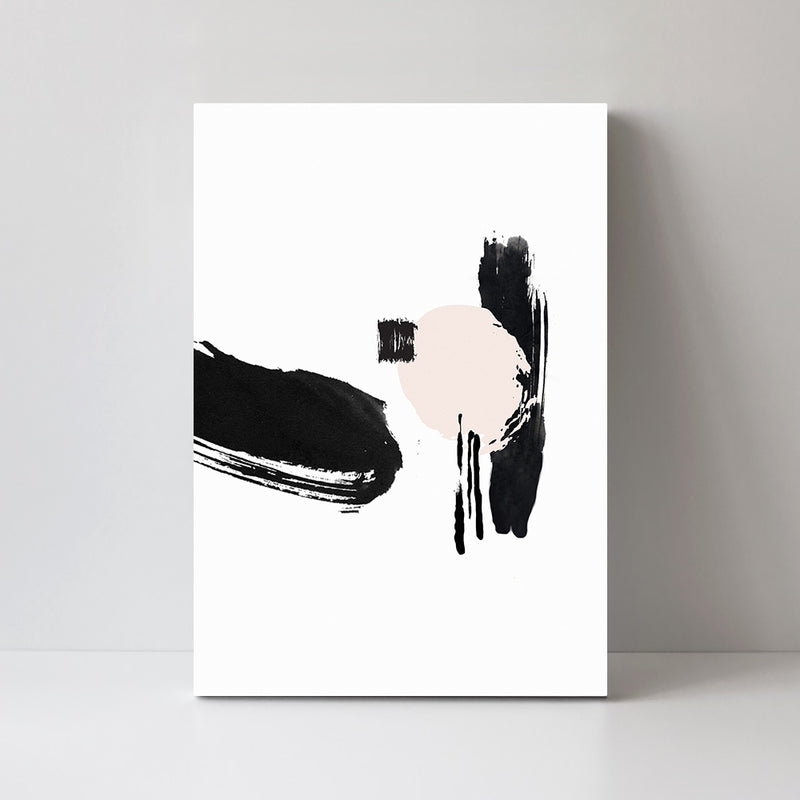Brush Painting, Blush And Black, Abstract, Style A