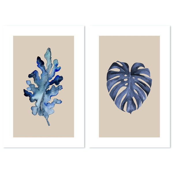 Blue Leaf, Set of 2, Style A