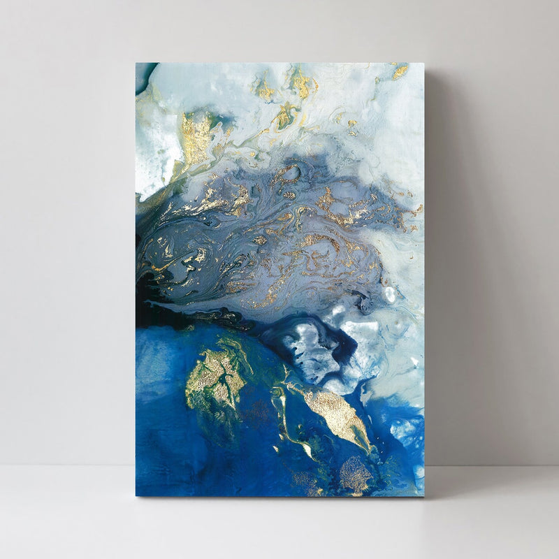 Marbled Blue and Gold, Abstract Art, Style B