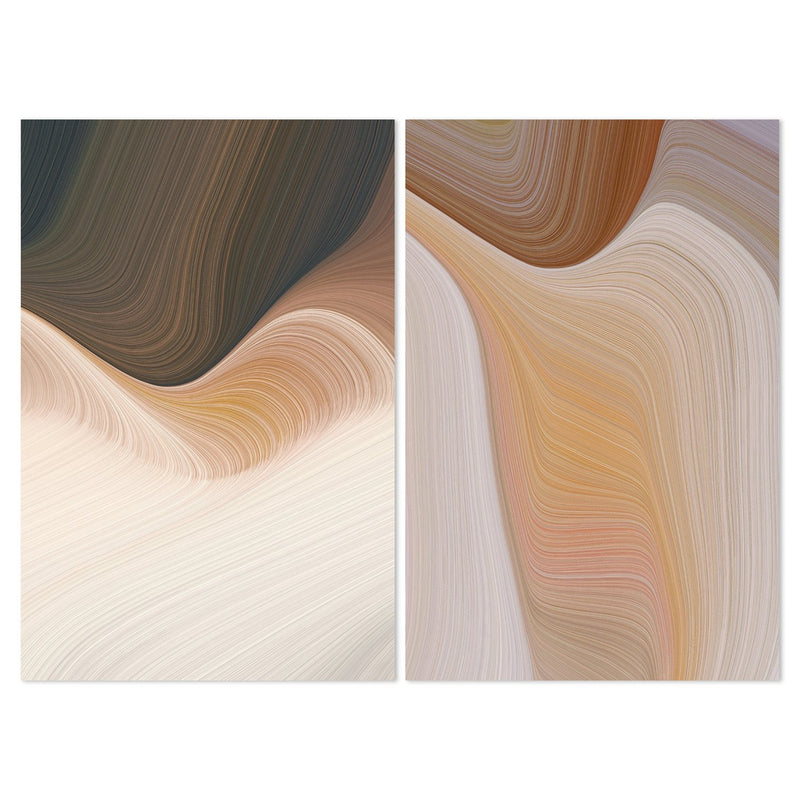 Neutral Abstract Formation, Style A, Set Of 2-Framed-Canvas-Print-Poster-Gioia Wall Art