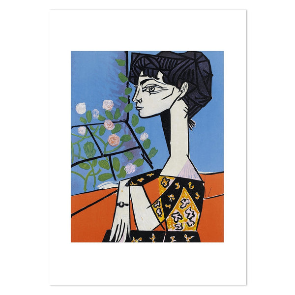 Portrait of Jacqueline Roque with Flowers, by Pablo Picasso-Framed-Canvas-Print-Poster-Gioia Wall Art