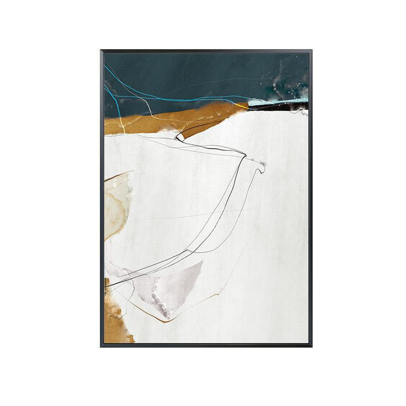 Wall-Art-Poster-Canvas-Framed-Abstract Art, Blue And Tan, Set Of 3-Gioia Wall Art