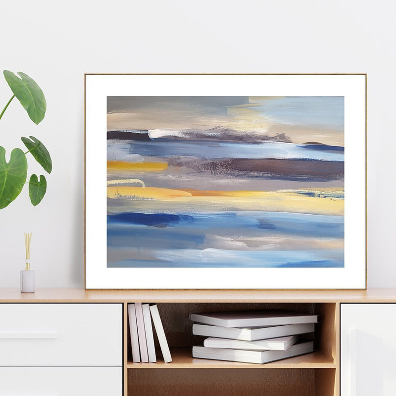 Wall-Art-Poster-Canvas-Framed-Abstract Art, Blue And Yellow-Gioia Wall Art
