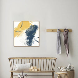 Wall-Art-Poster-Canvas-Framed-Abstract Art, Blue and Yellow, Style A-Gioia Wall Art