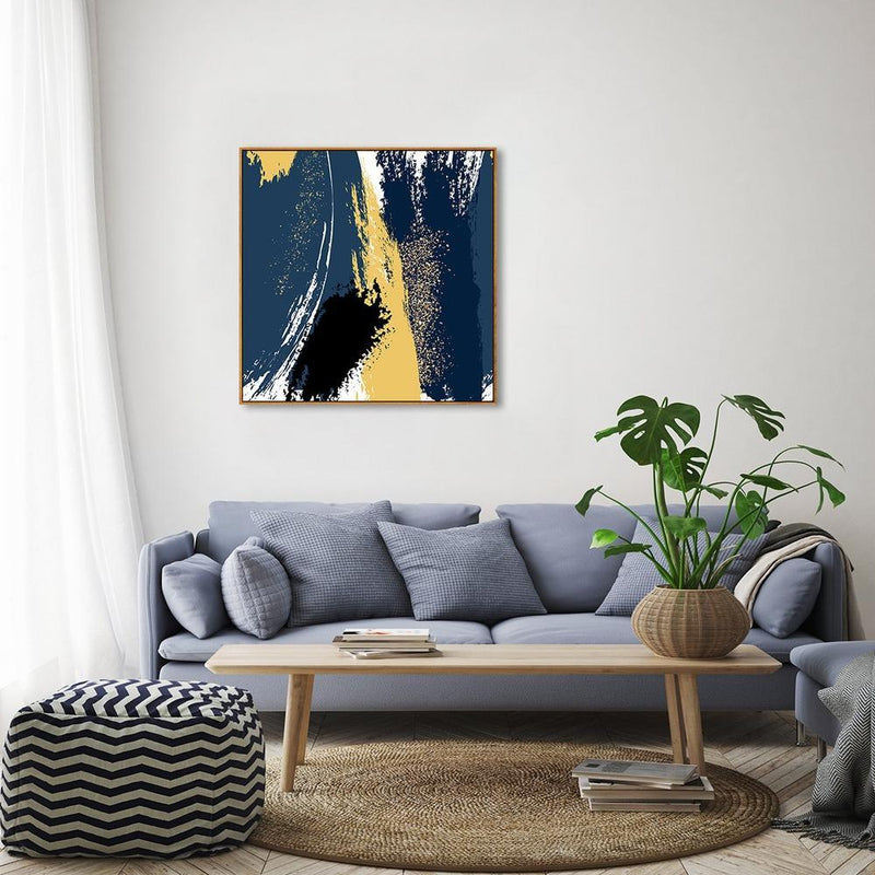 Wall-Art-Poster-Canvas-Framed-Abstract Art, Blue and Yellow, Style B-Gioia Wall Art