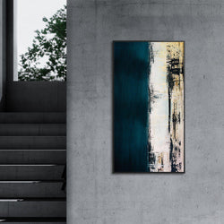 Wall-Art-Poster-Canvas-Framed-Abstract Art, Blue, Grey and Black-Gioia Wall Art