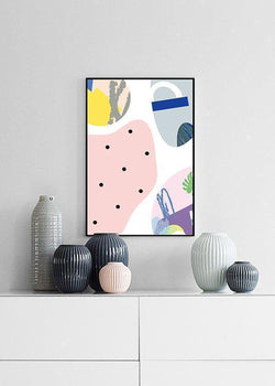 Wall-Art-Poster-Canvas-Framed-Abstract Art, Delightful Bright Colours, Style E-Gioia Wall Art