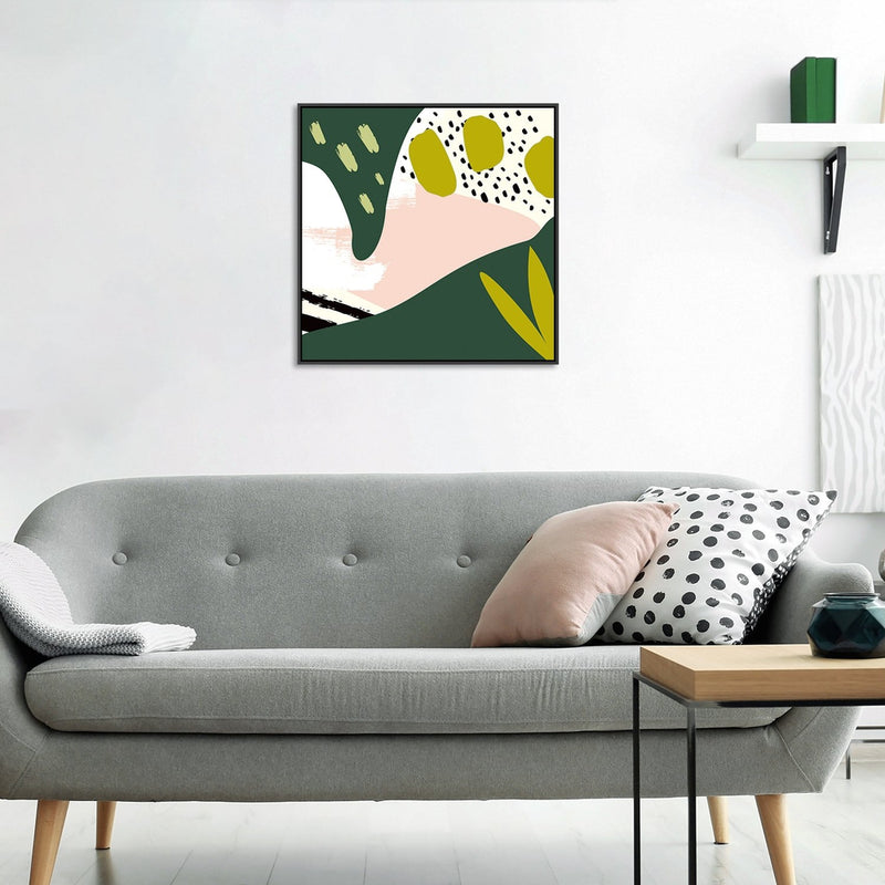 Wall-Art-Poster-Canvas-Framed-Abstract Art, Green, Pink And Black-Gioia Wall Art