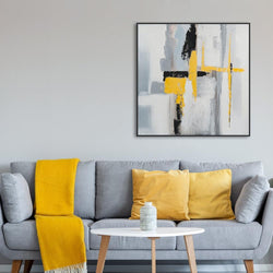 Wall-Art-Poster-Canvas-Framed-Abstract Art, Grey and Yellow-Gioia Wall Art