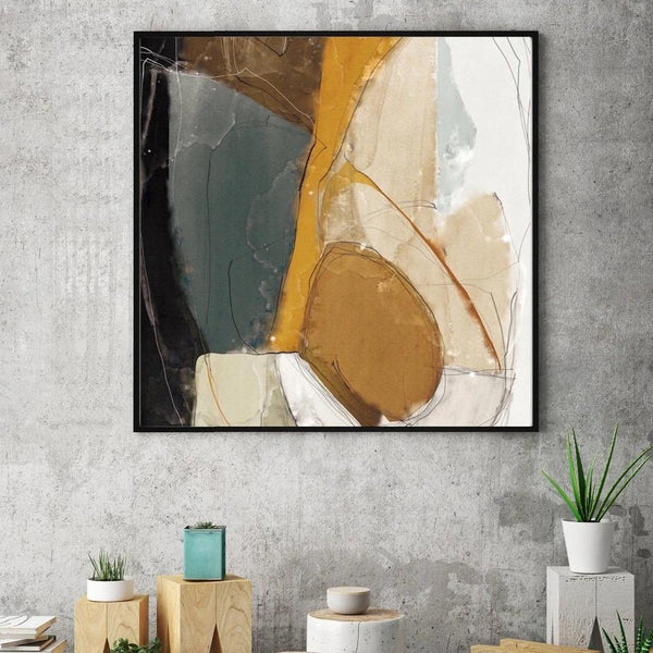 Wall-Art-Poster-Canvas-Framed-Abstract Art, Mustard, Grey And Black-Gioia Wall Art