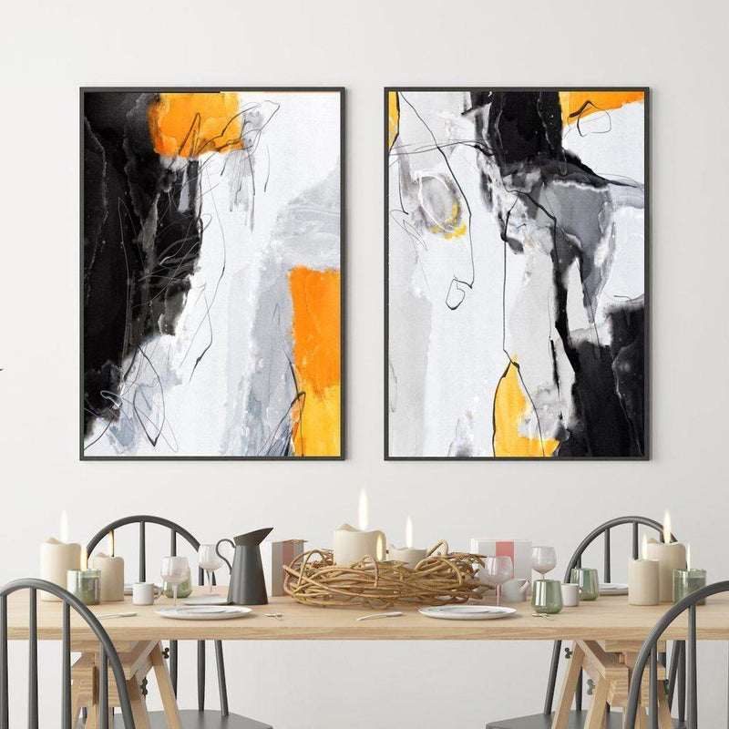 Wall-Art-Poster-Canvas-Framed-Abstract Art, Mustard, Grey And Black, Set Of 2-Gioia Wall Art