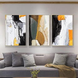 Wall-Art-Poster-Canvas-Framed-Abstract Art, Mustard, Grey And Black, Set Of 3-Gioia Wall Art