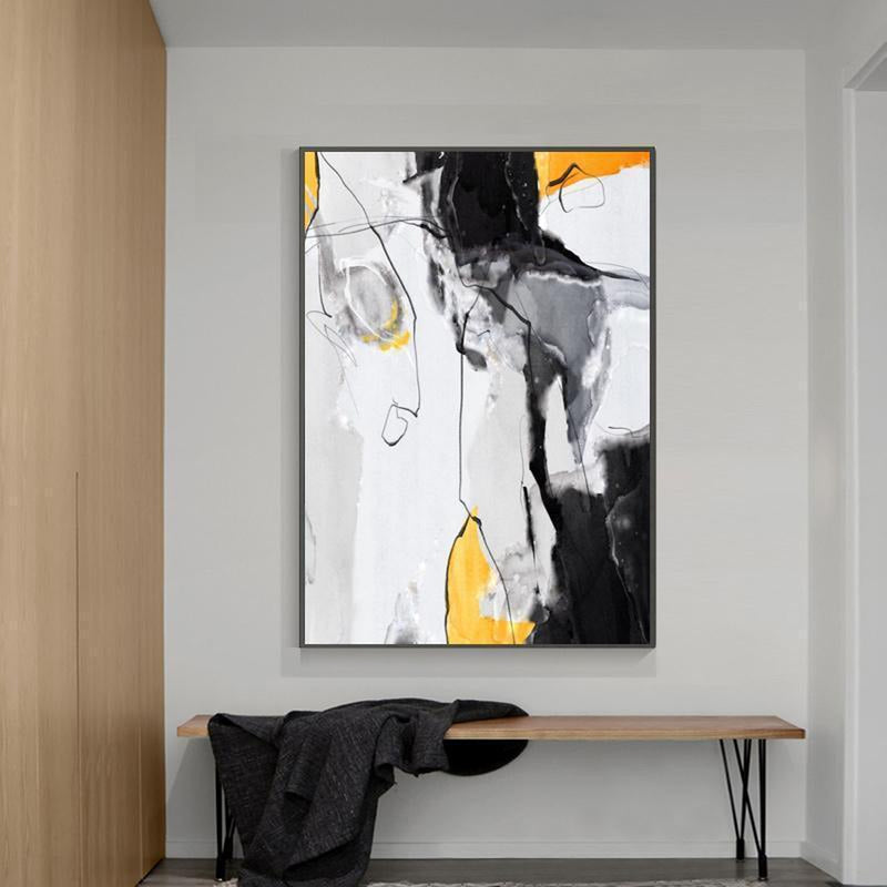 Wall-Art-Poster-Canvas-Framed-Abstract Art, Mustard, Grey And Black, Style A-Gioia Wall Art