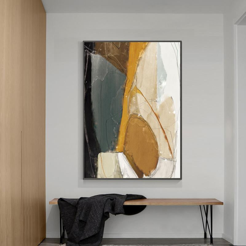 Wall-Art-Poster-Canvas-Framed-Abstract Art, Mustard, Grey And Black, Style B-Gioia Wall Art