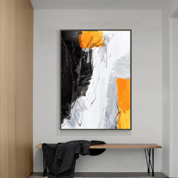 Wall-Art-Poster-Canvas-Framed-Abstract Art, Mustard, Grey And Black, Style C-Gioia Wall Art