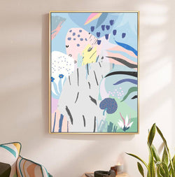 Wall-Art-Poster-Canvas-Framed-Abstract Art, Summer Garden, Style A-Gioia Wall Art