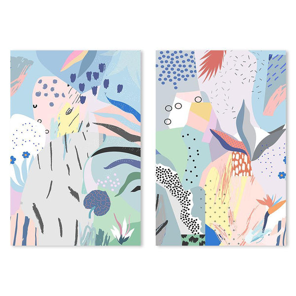 Wall-Art-Poster-Canvas-Framed-Abstract Art, Summer Gardens, Set Of 2-Gioia Wall Art