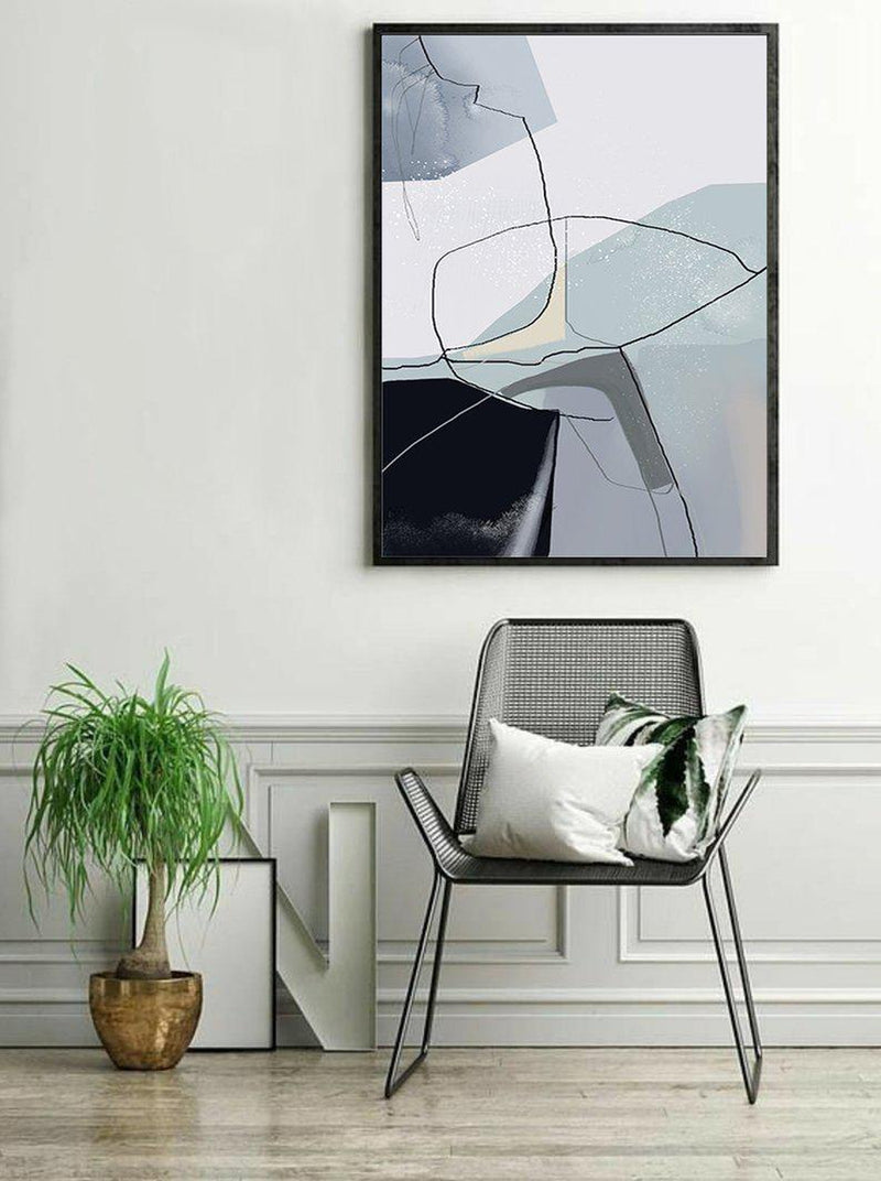 Wall-Art-Poster-Canvas-Framed-Abstract, Black Grey Blue, Style J-Gioia Wall Art