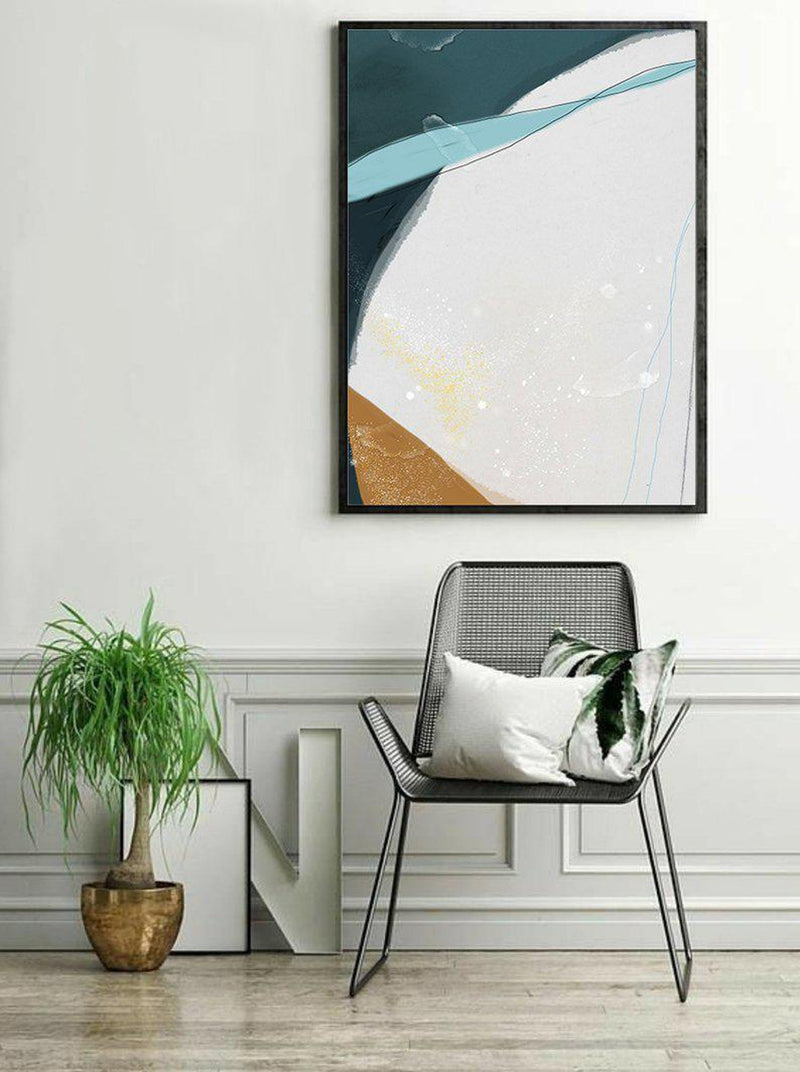 Wall-Art-Poster-Canvas-Framed-Abstract, Blue And Tan, Style D-Gioia Wall Art