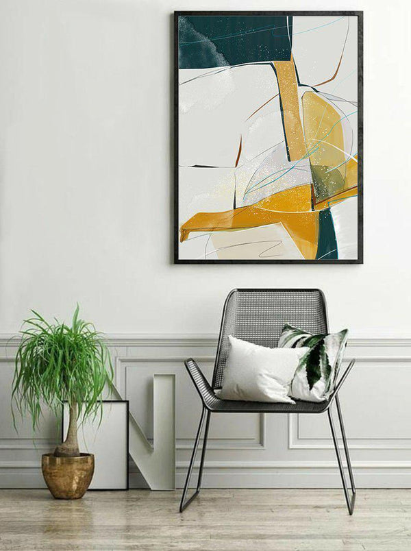 Wall-Art-Poster-Canvas-Framed-Abstract, Blue And Tan, Style E-Gioia Wall Art
