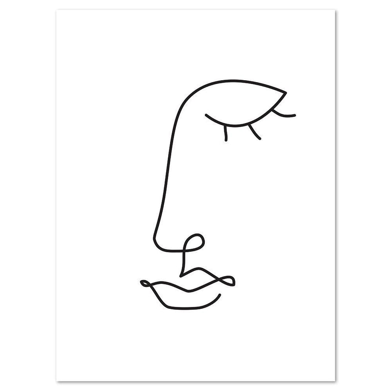 Wall-Art-Poster-Canvas-Framed-Abstract Face, Minimalist Line Art-Gioia Wall Art