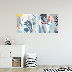 Wall-Art-Poster-Canvas-Framed-Abstract Flowers, Set of 2-Gioia Wall Art