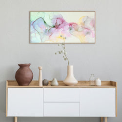 Wall-Art-Poster-Canvas-Framed-Abstract Ink Art Green, Pink and Yellow-Gioia Wall Art