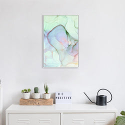 Wall-Art-Poster-Canvas-Framed-Abstract Ink Art Green, Pink and Yellow, Style A-Gioia Wall Art
