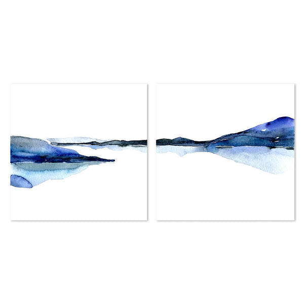 Wall-Art-Poster-Canvas-Framed-Abstract landscape in watercolour style, Set Of 2-Gioia Wall Art