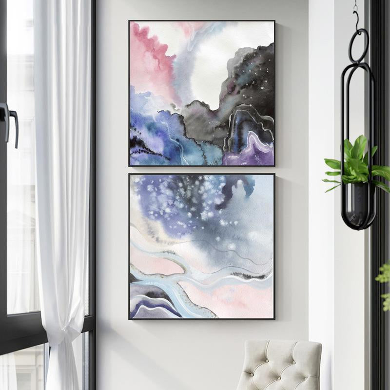 Wall-Art-Poster-Canvas-Framed-Abstract, Marble Pattern, Blue, Purple And Pink, Set Of 2, Style A-Gioia Wall Art