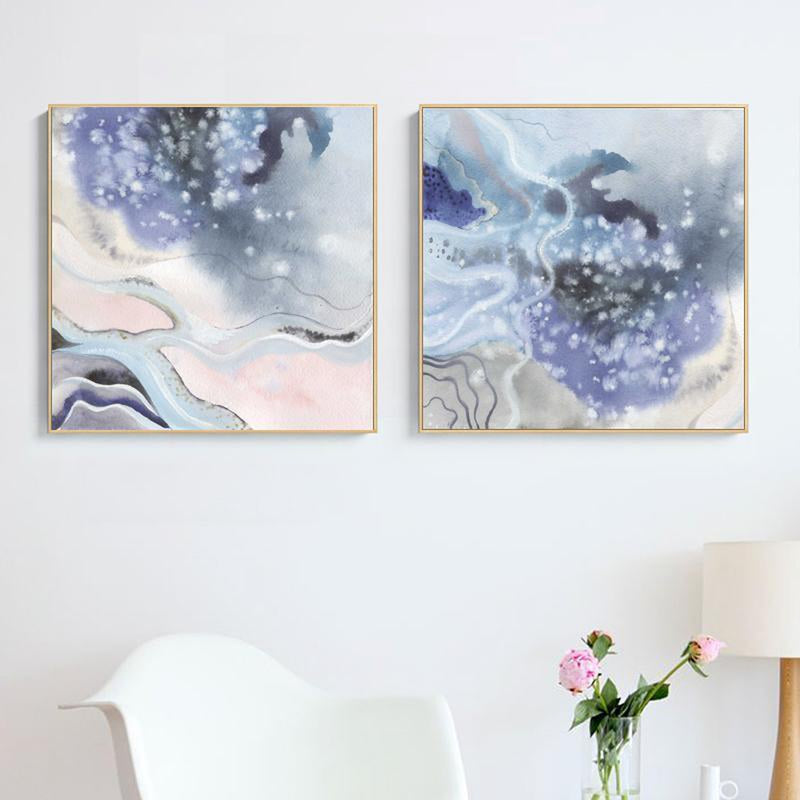 Wall-Art-Poster-Canvas-Framed-Abstract, Marble Pattern, Blue, Purple And Pink, Set Of 2, Style B-Gioia Wall Art