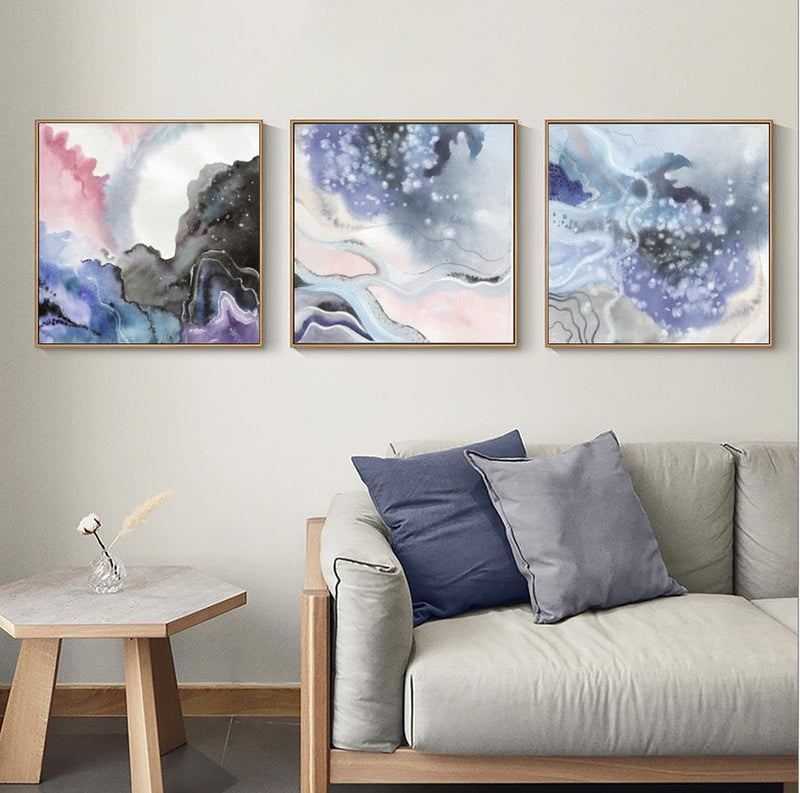 Wall-Art-Poster-Canvas-Framed-Abstract, Marble Pattern, Blue, Purple And Pink, Set Of 3, Style B-Gioia Wall Art
