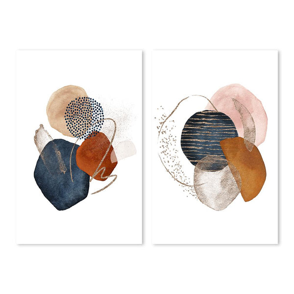 Wall-Art-Poster-Canvas-Framed-Abstract Shapes, Set Of 2-Gioia Wall Art