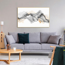 Wall-Art-Poster-Canvas-Framed-Abstract Watercolour Art, Black, Grey And Tan, Rich Layers-Gioia Wall Art