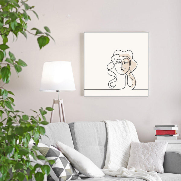 Wall-Art-Poster-Canvas-Framed-Abstract Woman, One Line Drawing, Line Art-Gioia Wall Art