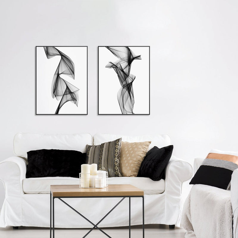 Wall-Art-Poster-Canvas-Framed-Aerial Silk, Black And White, Set Of 2, Style B-Gioia Wall Art