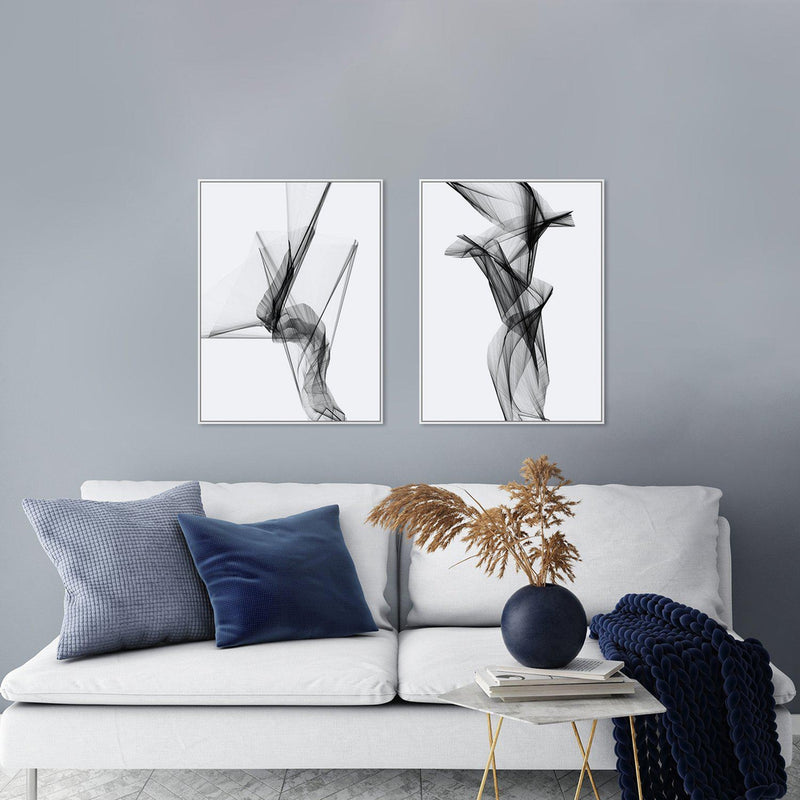 Wall-Art-Poster-Canvas-Framed-Aerial Silk, Black And White, Set Of 2, Style C-Gioia Wall Art