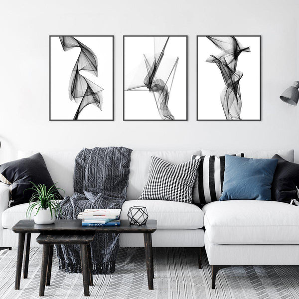 Wall-Art-Poster-Canvas-Framed-Aerial Silk, Black And White, Set Of 3-Gioia Wall Art