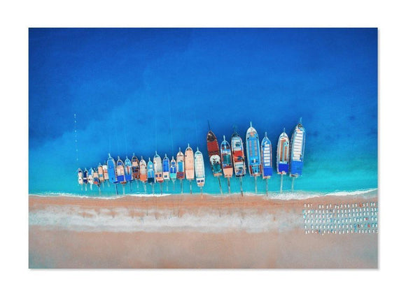 Wall-Art-Poster-Canvas-Framed-Aerial View Of Colourful Boats, Ocean And Beach Print-Gioia Wall Art