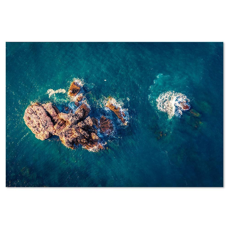 Wall-Art-Poster-Canvas-Framed-Aerial View Of rock in the Ocean-Gioia Wall Art