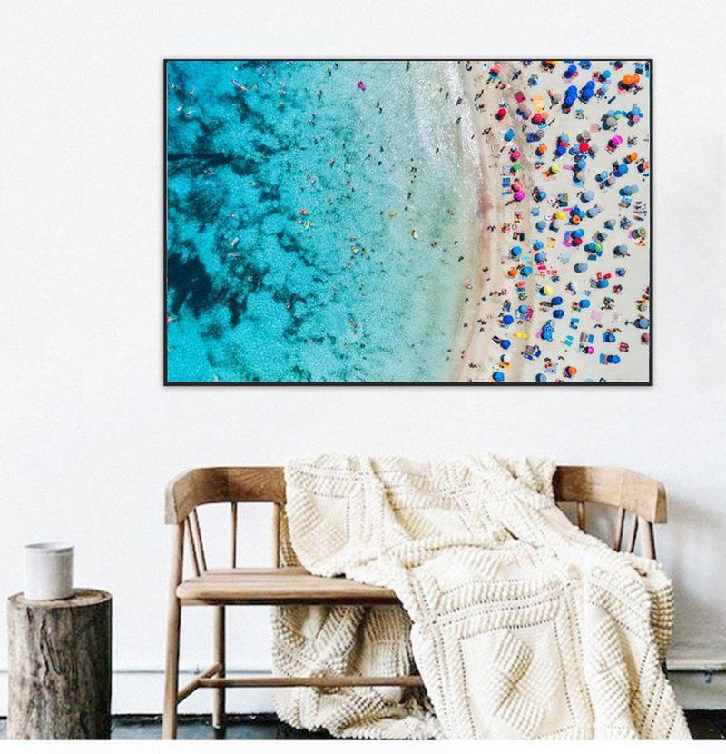 Wall-Art-Poster-Canvas-Framed-Aerial View Of Sandy Beach With Colourful Umbrellas-Gioia Wall Art