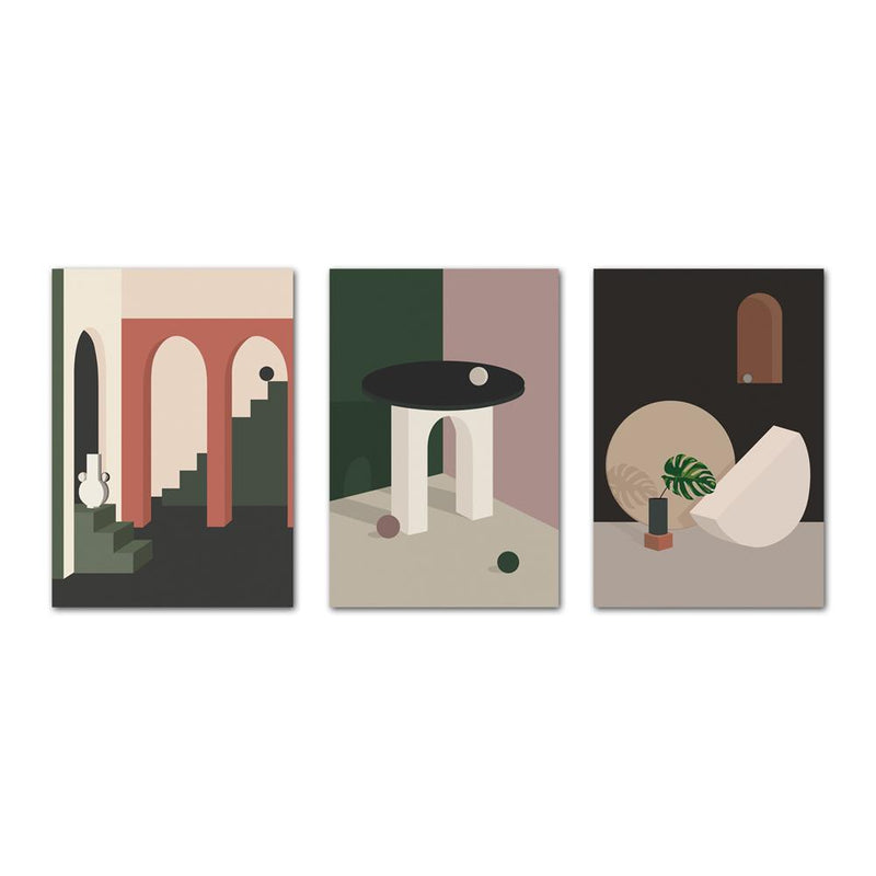 Wall-Art-Poster-Canvas-Framed-Arch And Window, Morandi Colour Illustration, Set Of 3-Gioia Wall Art