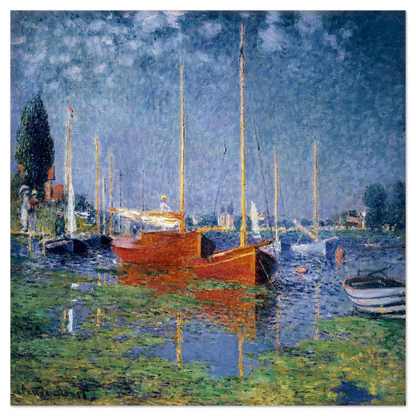 Wall-Art-Poster-Canvas-Framed-Argenteuil, Red Boats, by Monet-Gioia Wall Art