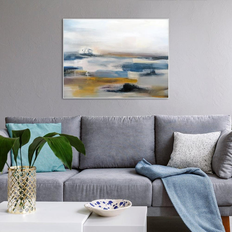 Wall-Art-Poster-Canvas-Framed-At the seashore, Abstract Landscape, Hand Painted Canvas-Gioia Wall Art