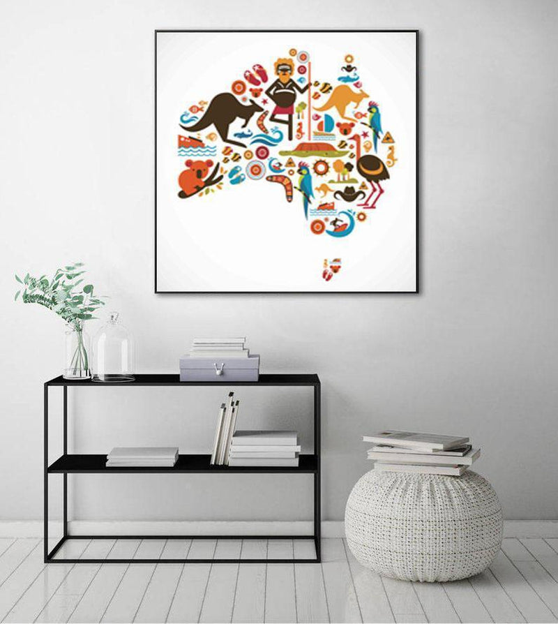 Wall-Art-Poster-Canvas-Framed-Australian Map Illustration-Gioia Wall Art